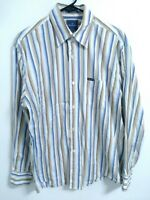 Faconnable Mens Size Medium White Blue Brown Striped Long Sleeve Button Up Shirt