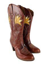 Vintage Dan Post Boots Flower Inlay Women's Size 6.5 Red Brown Stacked Heel 4119