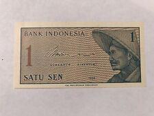 1964 Indonesia 1 Sen Banknote; Crisp, Uncirculated