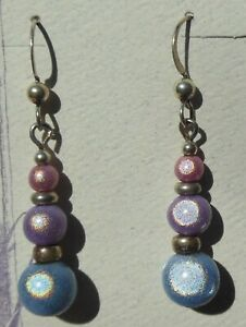 Shy Pastels beaded earrings, sterling silver earwires, handcrafted in USA