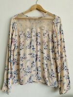 River Island Blouse Pink Floral Liberty Print Lace Front Button Up Back Size 10