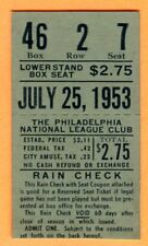 *EDDIE STANKY'S LAST GAME TICKET STUB-7/25/53 CARDINALS/PHILLIES-ROBERTS WIN#108