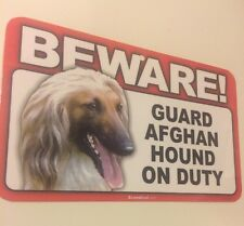 """Sign """"Beware Guard Afghan Hound on Duty"""" Dog Warning Laminated Sign Puppy C4"""
