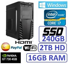 Ordenador Sobremesa PC INTEL i7 16GB RAM SSD240+2TB, GT730 4GB,WIFI ,WINDOWS