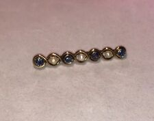 9ct Yellow Gold Pearl & Blue Sapphire 7 Stone Pin / Brooch