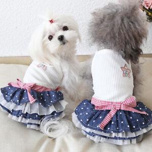 Fashion Star Dog Dress Small Dog Pet Cat Clothes Summer New Dog Apparel XS-XL