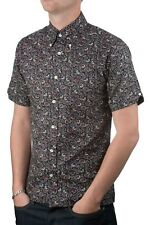 Art Gallery Clothing - Short Sleeve Fitted Shirt- Navy Paisley XXXL  Mod Sixties