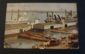 Mississippi River never used St Louis Missouri postcard of freight yards & ships