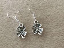 Cute New Tibetan Silver Shamrock / 4 Leaf Clover Dangle Drop Earrings
