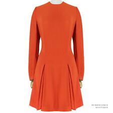 Stella McCartney Elegant Deep Orange Crepe Inverted Pleat Skirt Dress IT40 UK8