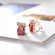 ITALINA 18K GOLD PLATED GENUINE RUBY RED CUBIC ZIRCONIA BOX CLIP-ON EARRINGS
