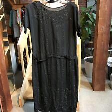 Vintage 20' s Black Silk Beaded Dress Sheath Drop Waist Short Sleeve As Found 8