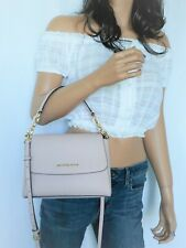 MICHAEL KORS SOFIA SMALL SATCHEL SAFFIANO LEATHER CROSSBODY BAG PINK BLOSSOM