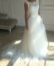 White wedding dress gown size 6 8 tulle lace low back ballgown princess
