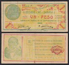 Méjico - Mexico (Oxaca) - 1 Peso  24-9-1913  Pick S953a   BC+ = F+