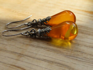 Vintage Amber & Sterling Silver dropper earrings - Stunning