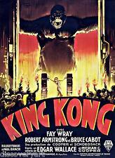 King Kong 1933 película Cartel Lona Pared Arte Impresión Vintage película de terror Fay Wray