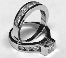 2.05CT PRINCESS DIAMOND WEDDING ENGAGEMENT RING BRIDAL SET 14K WHITE GOLD PD654R
