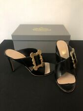VIVIENNE WESTWOOD STILETTO MULES BLACK LEATHER GOLD BUCKLE SIZE 38