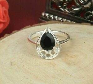 Black Onyx Gemstone 925 Sterling Silver Solitaire Engagement Ring For Women