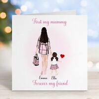 Personalised Birthday Card Mother and Daughter Cute First a Mummy Mothers Day
