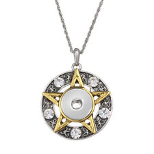 Hot Women Crystal Jewelry Necklace Pendant Fit 18mm Noosa Snap Button Star N132