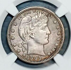 1905-O  Barber Quarter  NGC  AU details  cleaned