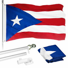 G128 6ft Aluminum Flagpole (Silver) & Puerto Rico Flag Embroidered 3x5ft