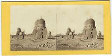 Photo stéréo Egypte Tombeau d'un Kalife, prés du Caire / cairo Egypt 1870