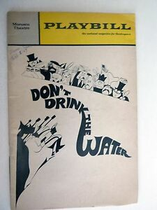 Vintage 1967 Playbill DON'T DRINK THE WATER Lou Jacobi Peggy Cass Anita Gillette