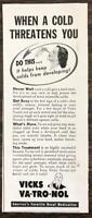 1940 Vicks Va-Tro-Nol Ad When a Cold Threatens You America's Favorite Nasal Med