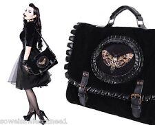 Restyle Handtasche Leder Samt Moth Steampunk Tasche Satchel Gothic Bag A4 Black
