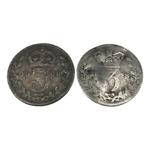 2 X VICTORIAN 3 PENCE COINS , THREE PENCE VICTORIA 1878 & 1900