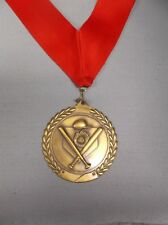 large baseball gold medal with wide red neck drape trophy