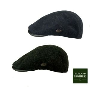 Whiteley Fleck Tweed Cap with Faux Leather trim Peak  Black or Navy  Fast Post