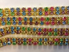 4 Ft. Double Row Swarovski Rhinestone Chain - Color Mix SS32 - 4mm Stones