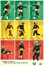 Bob Marley Football poster Rasta Colors Iconic Legend Jamaica Reggae Wailers New