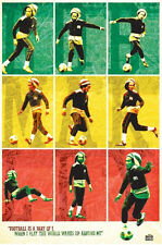 Bob Marley Football poster Rasta Colors Iconic Legend Jamaica Reggae Wailers New