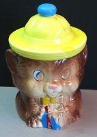 Teddy Bear Yellow Japan Cookie Jar Hat w Present Ceramic Mid Century FREE SH
