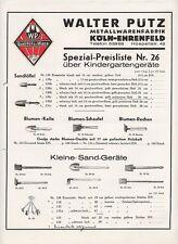 KÖLN Metallwarenfabrik Pütz Preisliste 1934 über Kindergarten-Geräte