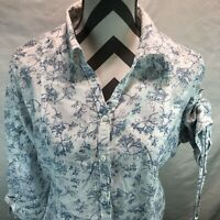 Woolrich White Blue Floral Hemstitch Cinch Sleeves Button Front Blouse XL OO4