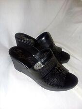 Brighton Black Casablanca Platform Wedge Slide Sandals Womens Size 11 W