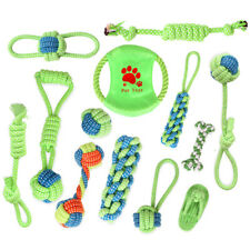 Set of Woven Cotton Rope Interactive Dog Pet Puppy Tug Play Chew Toy Play Balls