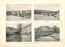 Inondations crue du Doubs à Besançon pont Brégille/Crue Rhône Lyon GRAVURE 1896