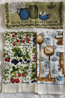 Lot of 3 VTG Linen Tea Towels Kay Dee, Luther Travis Recipe & Farmhouse Kitchen