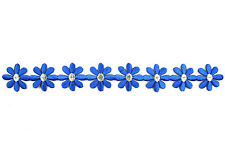 "1.25"" Blue Silver Flower Iron On Embroidered Trim Diy Sewing Notions by Yard"