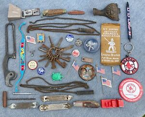 junk drawer lot PINS keys KNIVES 1910 firemen's ribbon RED SOX bottle opener ETC