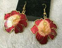 RED FLOWERS on ears Genuine Cloisonne dangle earrings by Fish Enamel