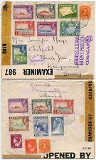CURACAO WW2 1944 TRIPLE CENSORED MULTI FRANKING + PRINCESS JULIANA HANDSTAMP