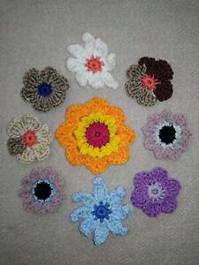 Lot de fleurs au crochet en laine et coton (n°2)